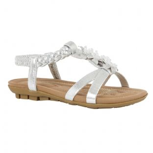 Lotus Womens Margarita Silver Flat Open Toe Sandals